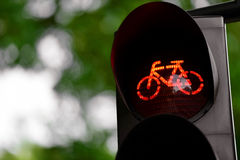 Red traffic light for bicycles Stock Photography