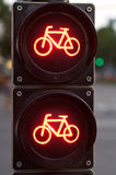 Red traffic light for bicycles Royalty Free Stock Image