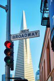 Red traffic light and Broadway street sign in San Francisco Royalty Free Stock Photo