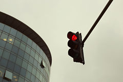 Red traffic light in the city Royalty Free Stock Photo