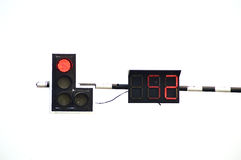 Red traffic light. With counter isolate on white background Stock Photo