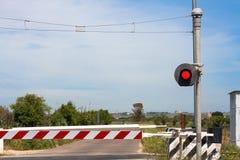 Red traffic light crossing level Stock Image