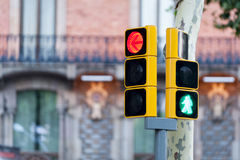 Red traffic light and green man Royalty Free Stock Photography