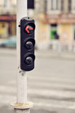 Red traffic light on a pole Royalty Free Stock Images