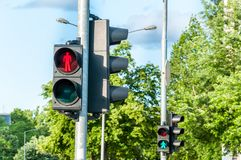 Red traffic light signal for pedestrians on the crosswalk in the city Royalty Free Stock Image