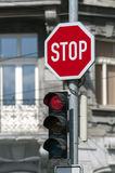 Red traffic light. Stock Images