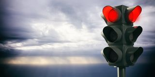 Red traffic lights on bad weather sky background, copy space. 3d illustration. Driving with bad weather conditions. Traffic light, red stop signal, on heavy Stock Photos