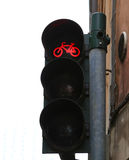 Red traffic lights for bicycle along the cycle track Stock Photos