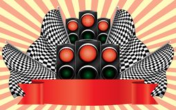 Red traffic lights on finish. Vector illustration. On an abstract background Royalty Free Stock Photo