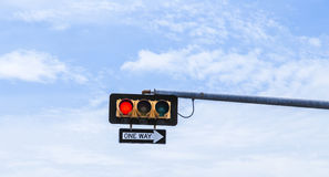 Red traffic lights with one way sign in the USA Stock Image