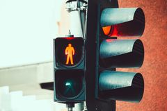 Red traffic and pedestrian crossing light. Red traffic and pedestrian crossing light closeup Royalty Free Stock Photo