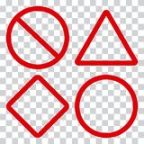 Red traffic signs on transparent background. Vector stock illustration