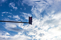 Red Traffice Light on Blue sky. With cloud Royalty Free Stock Photography
