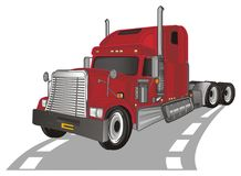 Red trailer driving. Red american trailer on the gray road stand royalty free illustration