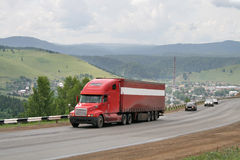 A red trailer truck Stock Photography