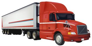 Red Trailer Truck Stock Images