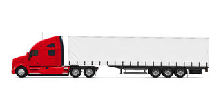 Red Trailer Truck. Isolated on white background. 3D render Stock Image
