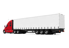 Red Trailer Truck. Isolated on white background. 3D render Royalty Free Stock Images