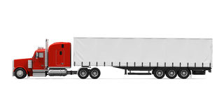 Red Trailer Truck. Isolated on white background. 3D render Royalty Free Stock Photo