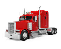 Red Trailer Truck. Isolated on white background. 3D render Stock Images