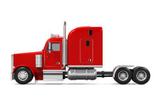 Red Trailer Truck. Isolated on white background. 3D render Royalty Free Stock Photos