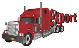 Red trailer and red word. Red american trailer with red owrd export stock illustration