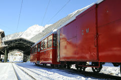 Red train. Famous train of Chamonix city Royalty Free Stock Photo