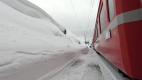 Red train of the Bernina stock video
