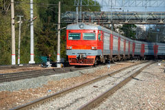 Red train intercity from Dubna Stock Photo