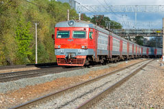 Red train intercity from Dubna Royalty Free Stock Photos
