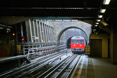 Red Train in London Stock Image