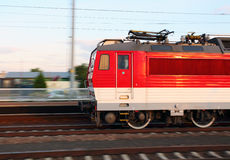 Red train in motion Stock Image