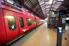Red Train at the platform. Danish S-Train at the Copenhagen Central Station Royalty Free Stock Photo