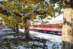 The red train on platform in winter. The red train and trees on platform with snow in winter Royalty Free Stock Photography