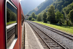 Red train on railway Stock Images