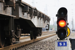 Red train signal. Red lights attached to train signal royalty free stock photo