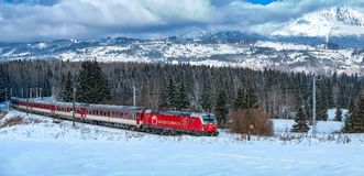 Red Train, High Tatras, Slovakia. Red Train of Slovak Railways Stock Images