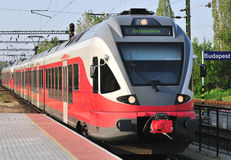 Red train at station Stock Image