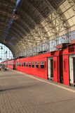 Red train on a station. In Moscow, Russia Royalty Free Stock Image