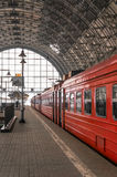 Red train on a station in Moscow. Russia Royalty Free Stock Images