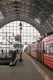 Red train on a station in Moscow. Russia Royalty Free Stock Image