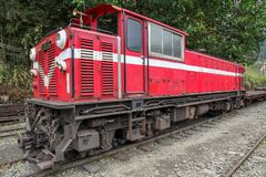Red train stop in fenchihu train station at alishan mountain,taiwan. Red train stop in fenchihu train station at alishan mountain,taiwan royalty free stock photos
