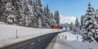 Red Train, Switzerland Stock Photos