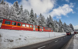 Red Train, Switzerland II Royalty Free Stock Photos
