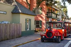 Free Red Train Tour At Old Town In Florida`s Historic Coast Royalty Free Stock Photo - 138033235