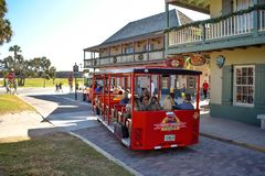 Free Red Train Tour At Old Town In Florida`s Historic Coast. Royalty Free Stock Photo - 139385835