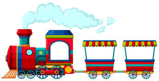 Red train with two carriages Royalty Free Stock Image