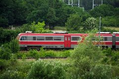 Free Red Train Vehicle In Greenery Stock Image - 119812451
