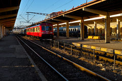 Red train waiting for departure Royalty Free Stock Images
