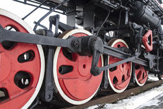 Red train wheels. Red wheels of a steam engine train Royalty Free Stock Image